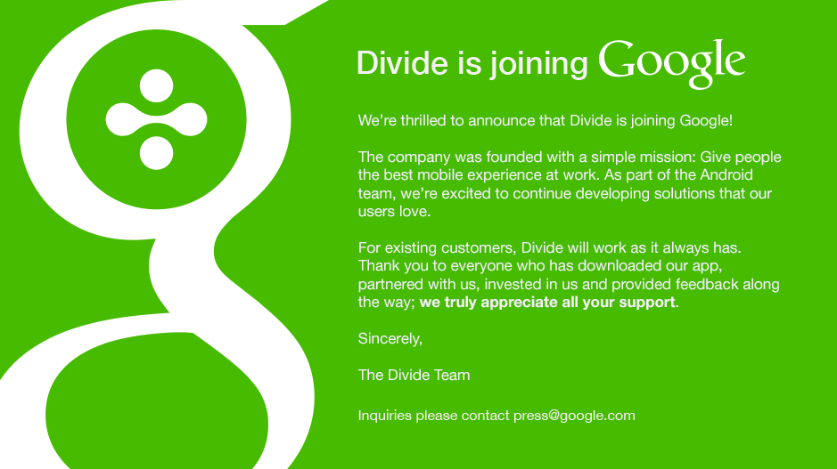 Google acquires Divide