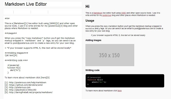 Markdown Live Editor