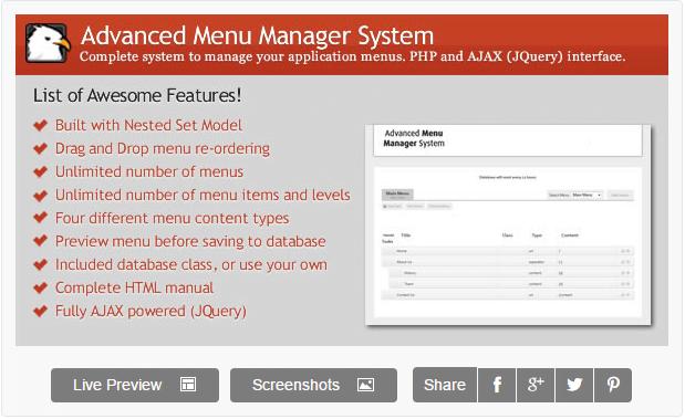 Advanced Menu Manager System