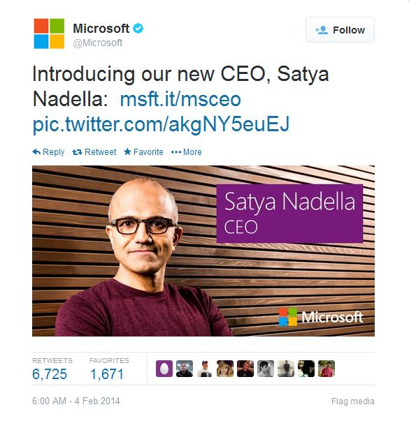 Satya Nadella named Microsoft new CEO