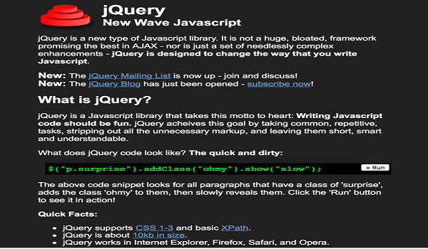 jQuery, Most Popular Javascript Library Now 10 Years Old