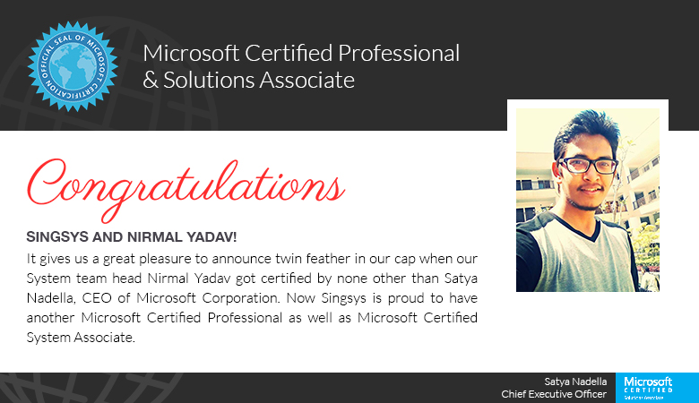 Singsys Systems Team Equipped With Mcsa And Mcp Certified Network
